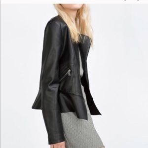 Zara Faux Leather Black Jacket